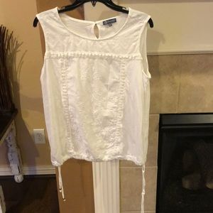 White sleeveless shirt with side ties